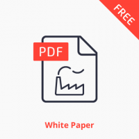 Man and machine white paper icon