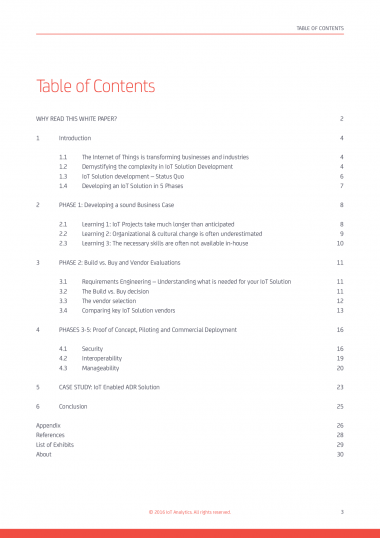 Guide to IoT Solution Development - Table of contents