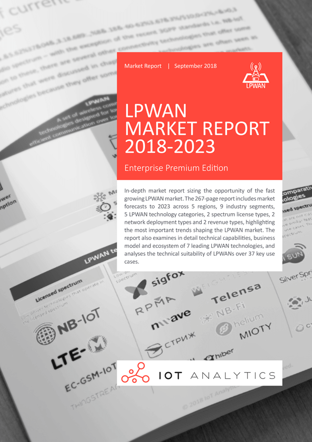LPWAN Market Report 2018-2023 Thumbnail  - LPWAN Report 2018 2023 Thumbnail min - LPWAN emerging as fastest growing IoT communication technology – 1.1 billion IoT connections expected by 2023, LoRa and NB-IoT the current market leaders