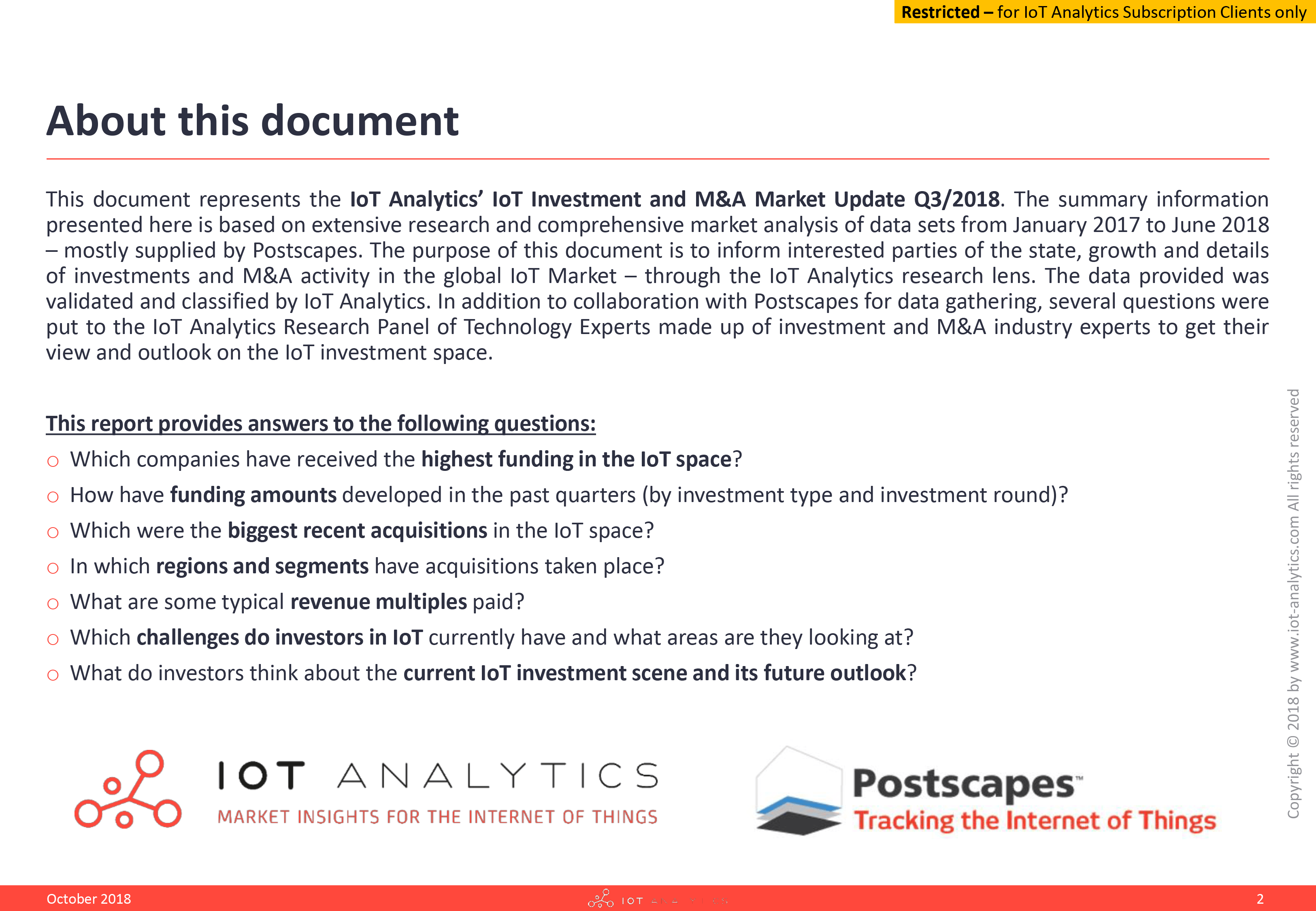 IoT Investments Report 2018 - October 2018 - About this document
