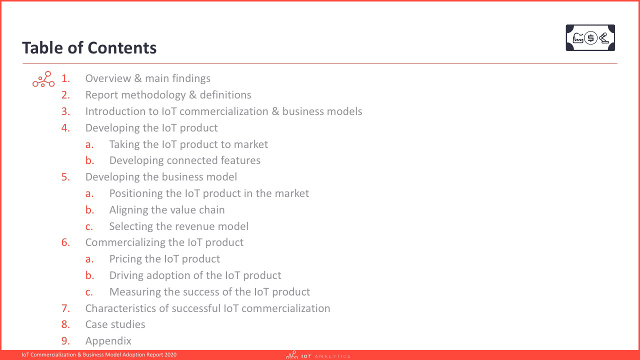 IoT Commercialization & Business Model Report 2020 - Table of content