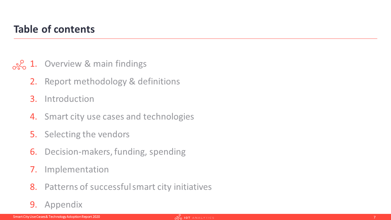 Smart City Use Cases Report - Table of Contents